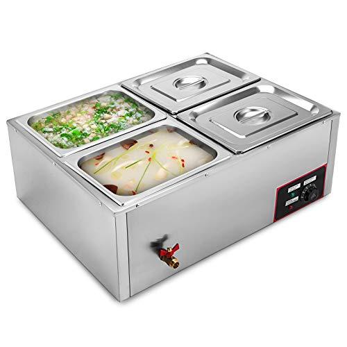 Gioevo 220v scaldavivande professionale a 4 vassoi scaldavivande elettrico scaldavivande a buffet in acciaio inossidabile da 850w scaldavivande per catering e ristoranti (4 pentole)