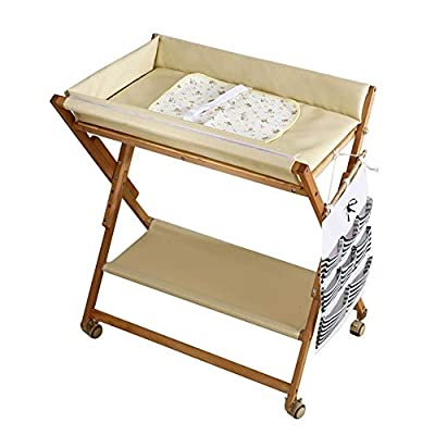 CHYEC Baby Changing Table Portable for Small Space, Wood Folding Diaper Station On Wheels, Table Height Adjustable (Color : White)