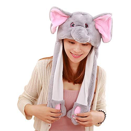 Unisex Lustig Hut Mit Ziehen um Oben Nieder Ohren Tier Stirnband Deckel Spielzeug zum Kinder Erwachsene (Grau-Elefant)