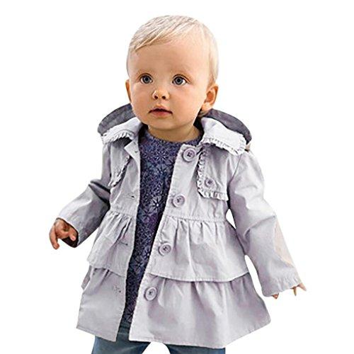 LuckyGirls Baby Mädchen Jacke Mantel Mit Kapuze Trenchcoat Sweatjacke Prinzessin Kinderjacken kleidung Outerwear 1-5 Jahre Frühling Herbst (80)