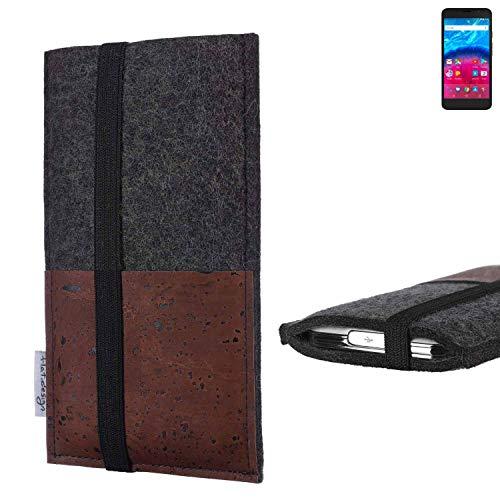 flat.design Handy Hülle Sintra für Archos Core 55 4G Handytasche Filz Tasche Schutz Kartenfach Case braun Kork