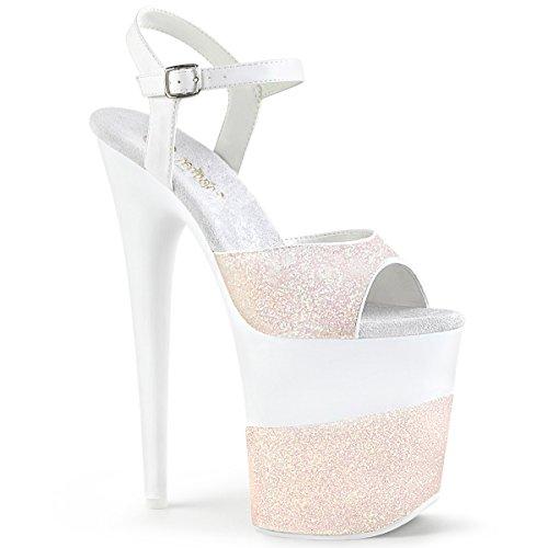Pleaser FLAMINGO-809-2G Damen Plateau High Heels, Glitter Opal Rosa, EU 38 (US 8) (8-zoll-heels Pleaser)