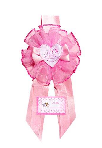 Fiocco nascita rosa tondo con ricamo (cavallo a dondolo)