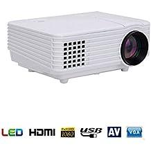 Mini Proiettore, Kingcenton® LED 800 Lumen 1080P con Connettivtà USB VGA HDMI AV SCHEDA e Riproduzione Diretta 805 Blanco