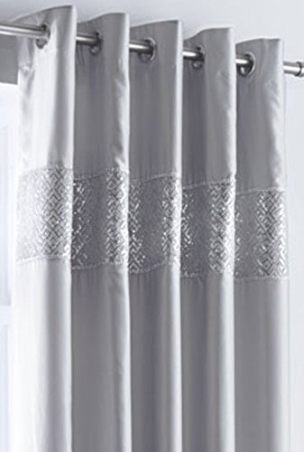 GREY LINED CURTAINS EYELET RING TOP Luxury Faux Silk with Sequin & diamante trim (66 x 90 (168x229cm))