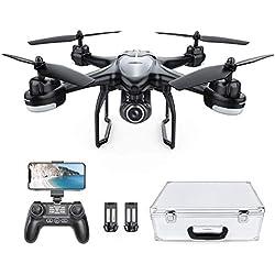 Potensic Drone GPS avec caméra HD, Hélicoptère T18 GPS FPV RC avec Caméra 120° Grand Angle Réglable, Retour Automatique à la Maison, Suivez-Moi, 2 Batterie et Une Valise de Transport