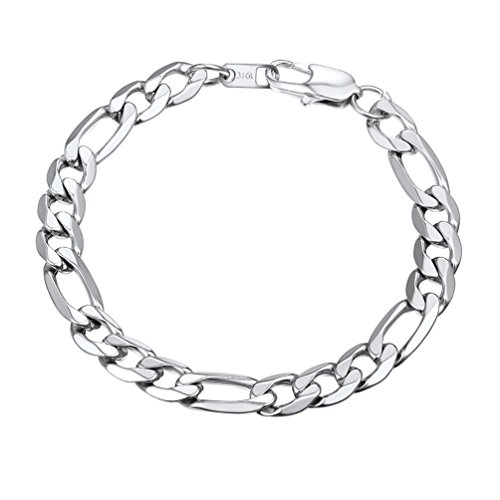 PROSTEEL Herren Armband 9mm glänzend Edelstahl Figarokette Armband 3+1 Silber Glieder Link Kettenarmband Armkette Armreif, Länge 19cm