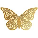 Hexawata 12Pcs Paper 3D Butterfly Hollow Wall Stickers Art Wall Decoration For Home Dorm Living Room (Gold Color/Style B)