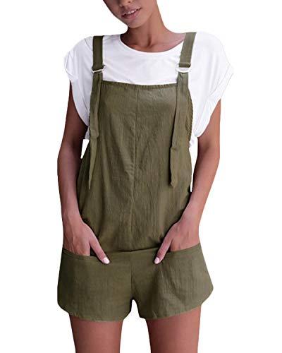 VONDA Damen Latzhose Retro Shorts Lässig Übergröße Jumpsuit Baggy Sommerhose Mit Tasche Armeegrün S - Leinen Overalls Hosen