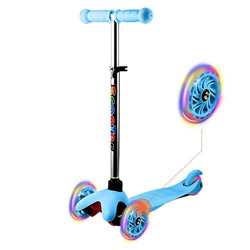 WeSkate Kinder 3 Räder Roller Scooter mit LED Blinken und Verstellbare Lenker, Aluminiumlegierung Kinderroller Tretroller Dreiräder für Junge Mädchen ab 2-7 Jahre (Blau)