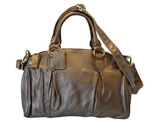 """Getthatbag © """"Orla"""" da donna, in vera pelle, Mini-Borsa Hobo-Borsa, colore: blu/grigio Grigio (grigio)"""