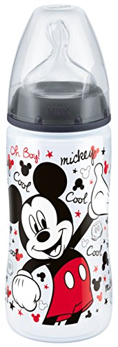 Botella NUK FIRST CHOICE Anti-Cólico bebé Disney Mickey PP 300 ml, con cuello ancho Gr silicona pezón. 2 (6-18 meses) M para la leche, color negro