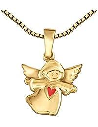 CLEVER SCHMUCK-SET Goldener Anhänger kleiner Kinderengel mit Herz rot glänzend 333 GOLD 8 KARAT mit vergoldeter Kette Venezia 42 cm