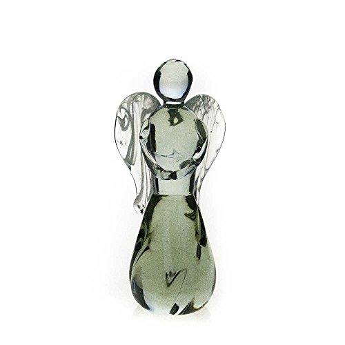 Handgefertigte, große Engelsskulptur aus recyceltem Glas, [ANG-B] -