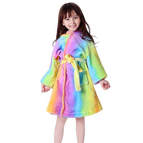 Junge Kinder Bademäntel Flanell Langarm Jungen und Mädchen Tier Handtuch Badeschlafanzug Kapuzenbademantel Robe 2019 Babykleidung 9 Regenbogen