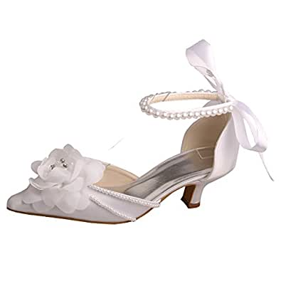 Wedopus MW448 Women Pointed Toe Flower Pearls Strap Satin Low Heels Sandals Wedding Court Shoes (2, White)