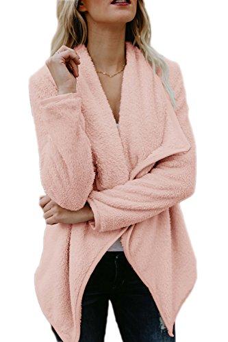 Les Femmes Lhiver Élégant Front Épais Manteaux Vêtements Décontracté Ouvrir pink