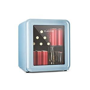 Klarstein PopLife Getränkekühler - Mini-Bar, Retrokühlschrank, 0-10°C, nur 39 dB, 48 L, umweltfreundlich, doppelt verglaste Tür, Retro-Design, blau