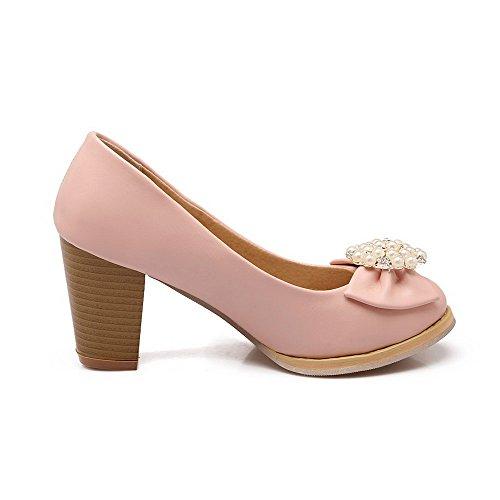 AllhqFashion Damen Weiches Material Ziehen Auf Rund Zehe Hoher Absatz Rein Pumps Schuhe Pink