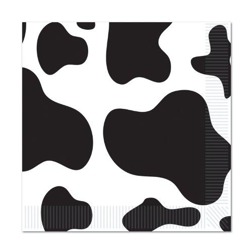 Beistle Kuh Getränke-Servietten mit Kuh-Muster Cow Print Beverage Napkins schwarz/weiß