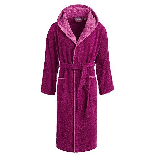 Egeria Cairo Bademantel Saunamantel mit Kapuze für Damen & Herren 728/733 Vivid Pink/Rosa Gr.M, 100% Baumwolle, Gewicht: 360 g/m²