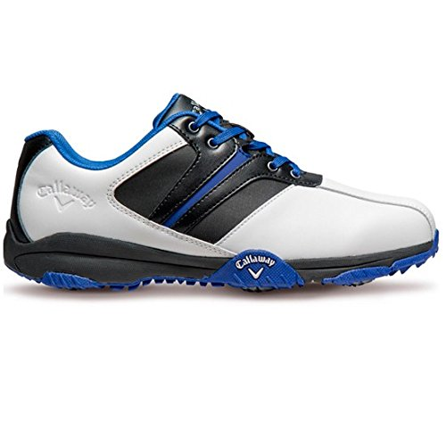 2017 Callaway Chev Comfort II Leather Upper Water Resistant Mens Golf Shoes White/Peacot/Grey 8UK (Comfort Golfschuh White)