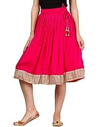 Saadgi Blue Solid Rayon Short Skirt - B074L4LMYX