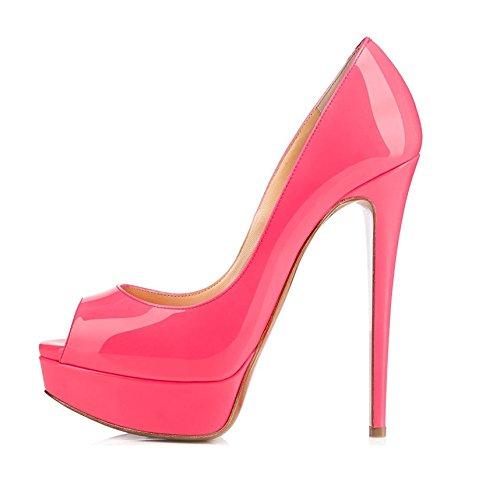 EDEFS Damen Pumps High Heels Plateaupumps Lack Stiletto Peep Toe Schuhe Party Abendschuhe Rose