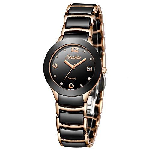 SUNKTA Damen Mode Elegant Wasserdicht Analog Quarz Uhr Edelstahl mit Diamant Schwarz und Rose Gold Keramik Armband Damen Armbanduhr