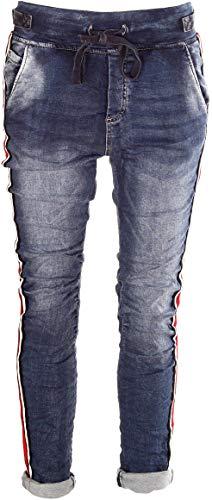 Denim Und Co (Basic.de Cotton Stretch-Hose im Jogging-Pant Style Melly & CO 8139 Jeans-Stoff mit Kontraststreifen Rot/Weiß/Schwarz XS)