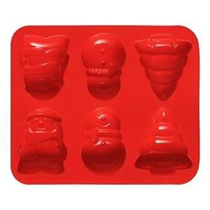Premier Housewares Stampo per 6 dolci natalizi in silicone antiaderente, colore: Rosso