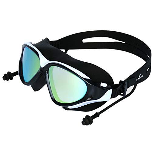 Floridivy BOIHON Erwachsener Schwimmen Surfen Earplug Brillen Frauen Männer Goggles Anti-Fog Galvani Anti-Fog Galvani Brille UV-Schutz Schwimmbrille weiß schwarz
