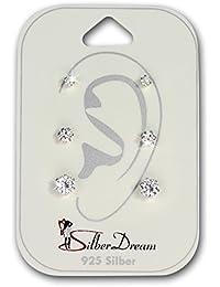 SilberDream Ohrstecker 3er Set Zirkonia weiß 925 Silber Damen Ohrring Geschenk SDS809