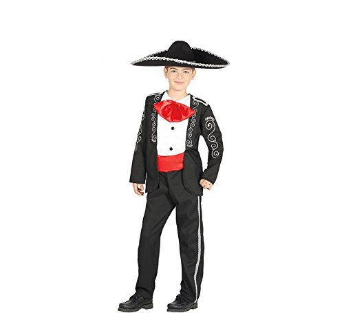 Kinderkostüm Mariachi Junge Sänger Anzug schwarz Fasching Mexikaner (7-9 Jahre)