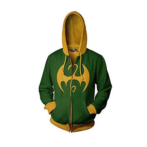 Xcoser Herren Held Kapuzenpullover Lange Ärmel Sweatshirt Cosplay Kostüm Baumwolle Jacke Top Kleidung für Frühling und Herbst (Iron Fist Cosplay Kostüm)
