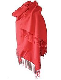 f70095d53d68 Echarpe étole chale en laine et cachemire grande épaisse et chaude (CORAIL)