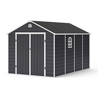 BillyOh Ashford Outdoor Plastic Garden Storage Shed Grey 8 x 12 ft Inc Foundation Kit