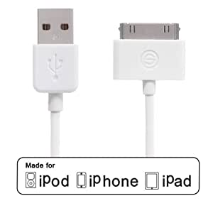 Câble OPSO marque Apple Certified Blanc 4 pieds d'USB 30 broches du connecteur USB Sync et Charge Cable for iPod/iPhone/iPad (1.2m)