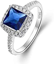 EVER FAITH 925 Sterling Silver Princess Cut .25ct Sapphire Color CZ Lady Daily Ring