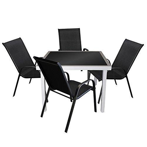 5tlg. Gartengarnitur Glastisch 90x90cm Silber/Schwarz + 4x Gartenstuhl stapelbar Schwarz Bistrogarnitur Balkonmöbel Sitzgruppe