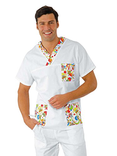 Isacco-Casacca medica scollo a V, motivo: smile, unisex, colore: bianco bianco XL