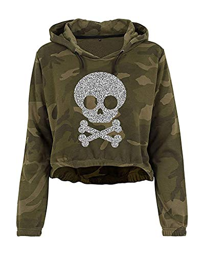 Livingstyle & Wanddesign Damen Camouflage Cropped Hoodie Glitzer Totenkopf 2 Olive Camo Silber, Gr. M -