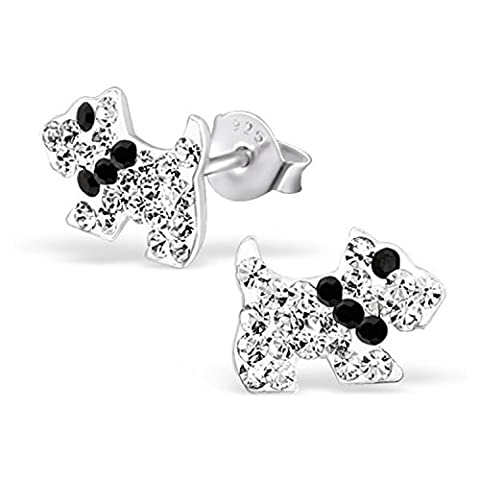 Sparkling Crystal Scottie Dog / Scottish Terrier Earrings with Black Collar 925 Stamped