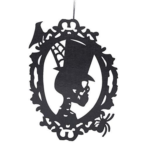 Amosfun Halloween Hängende Dekoration Vlies Schädel Kopf Hängende Wand Tür Dekor Halloween Party Supplies (Halloween Dekor Tür)