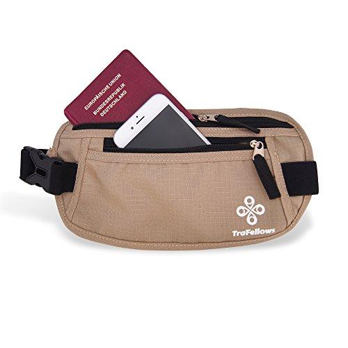 Premium Reise-Bauchtasche mit RFID-Blocker für Damen & Herren - Leichte Hüfttasche enganliegend - Gürtel-Tasche für Sportler & Reisende - Flacher geräumiger Geld-Gürtel (Beige) Beige