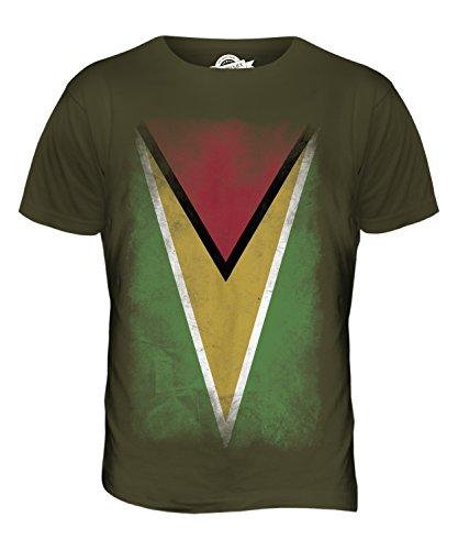 CandyMix Guyana Verblichen Flagge Herren T Shirt Khaki Grün