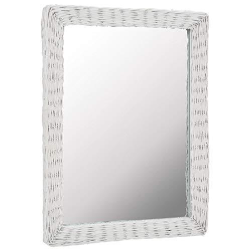 VidaXL Espejo Decorativo Mimbre Blanco 60x80cm Decoración para Casa y Hogar