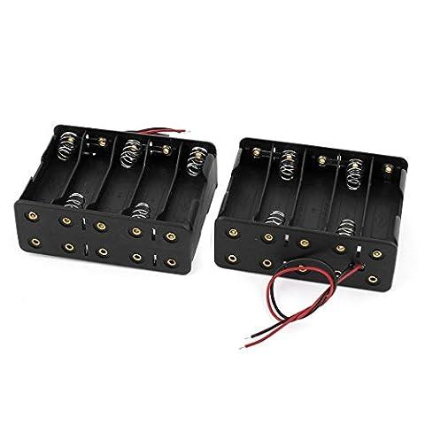 2ST 2 Wire Black zwei Schichten Kunststoff 10 x 1,5 V AA-Batterie-Halter-Kasten