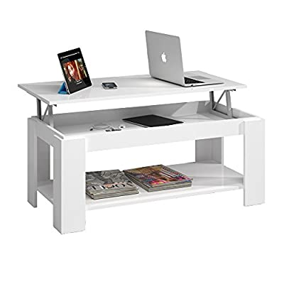 Habitdesign 001639BO Lift Top Coffee Table with Storage , finish white gloss , dimensions 102 cm x 50 cm x 43/54cm Height - cheap UK light shop.