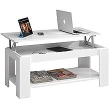 Habitdesign (001639BO) - Mesa de centro elevable con revistero incorporado, color blanco brillo ,